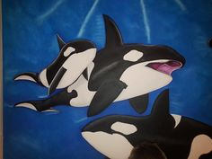The mural features two adult Orca Whales swimming in the blue waters with their two baby Orcas. Underwater Sea, Orcas, Second Baby, Killer Whales, Colorful Paintings, Mural Painting, Wall Murals, Scene, Swimming