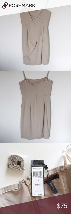 BCBGMaxAzria Grace dress NWT strapless dress in khaki color. Comes with attachable straps. Center back zip. Invisible side pockets.  70% poly, 28% rayon, 2% spandex. BCBGMaxAzria Dresses Mini