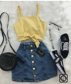 P i n t e r e s t //: trendy outfits, summer outfits for teens, teen girl Teen Fashion Outfits, Mode Outfits, Outfits For Teens, Girl Outfits, Womens Fashion, Fashion Dresses, Tumblr Outfits, Fashion Fashion, Yellow Outfits