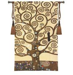 "Tree of Life Wall Hanging by Gustav Klimt 35"" x 48""  #BeddingNMore #Tapestry #Art"