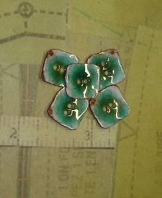 Copper Enameled Buttons - 5