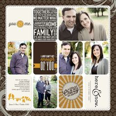 scrapbooking layout ideas for couples or parents - would also work for pocket pages