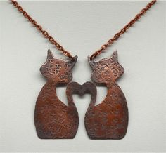 Kittens in Love Hand Forged Copper Cat Pendant by SunStones, $32.00