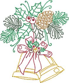 Pat Williams Embroidery Design: Redwork Christmas Bells 3.99 inches H x 3.33 inches W