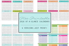 Need a cute calendar for your planner? FREE Printable 2016 At-A-Glance Calendars - 4 Versions courtesy of Clean Mama