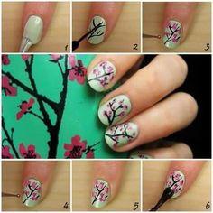 Nail Art / Flower nails how-to Nail Art Sexy, Sexy Nails, Cute Nail Art, Fun Nails, Pretty Nails, Green Tea Nails, Nail Art Fleur, Cherry Blossom Nails, Cherry Blossoms