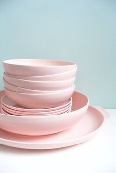 Vintage Lot of Pink Plastic Melmac Melamine Type Dishes Serving Platter Serving Bowl Six Saucer Plates and Five Bowls