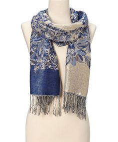 Italmode Royal & Gray Floral Fringe Pashmina-Silk Blend Scarf | zulily