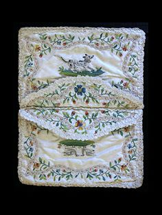 Hand-embroidered silk taffeta pocketbook/card case, c.1780-1800.