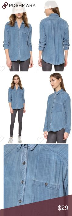 """Free People Double Dip Button-Down Top $128 Size XS (but oversized). Double Dip Button Down Top in Blue Combo. Broken-in feel in a drapery chambray shirt cut with a relaxed silhouette & easy, high-low hem. 27"""" front length, 31"""" back length (size medium). Spread collar. Front button closure. Long sleeves w/ 2 button cuffs. Chest patch pocket. 100% cotton. EUC $128 #denim #jean shirt Free People Tops Button Down Shirts"""