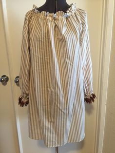 Brown/Offwhite Stripe w/Lace 100% Cotton Chemise Blouse great for Steampunk Victorian Pirate LARP Cosplay