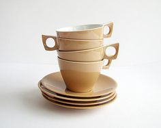 Ornamin Ware, Melmac Cups and Saucer Set, Picnicware, Picnic Tea Cups