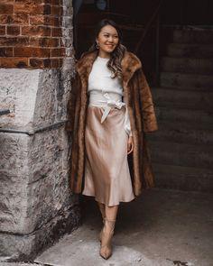 "melissa chau on Instagram: ""Always a fan of a good midi skirt. So elegant and flattering!"" Furs, Midi Skirt, Personal Style, Fur Coat, Asian, Elegant, My Style, Skirts, Jackets"