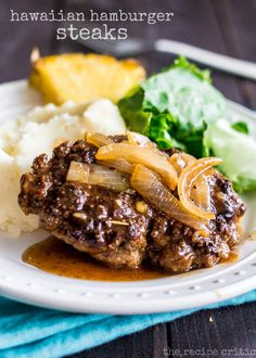 Hawaiian Hamburger Steaks at http://therecipecritic.com  Amazing Hawaiian inspired hamburger steaks that are a delicious one skillet meal that the entire family will love!