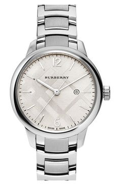 a2888365b Burberry Check Stamped Bracelet Watch, 32mm available at #Nordstrom  Burberry Watch, Burberry Women