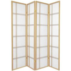 Oriental Furniture 6 ft. Tall Double Cross Shoji Screen - 4 Panel - Natural, Beige & Tan