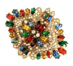 Multi-Color Czech Brooch/Pendant, Ruby Red Citrine Emerald Green Sapphire Blue Marquise Baguette Rhinestones, Pave Ice, Statement Brooch