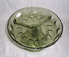 Hazel Atlas Thumbprint Avocado Green Pedestal Divided Relish Glass Dish