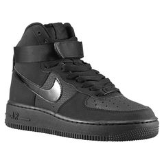 Nike Air Force 1 High - Boys' Grade School - Basketball - Shoes - Black/Black/Black