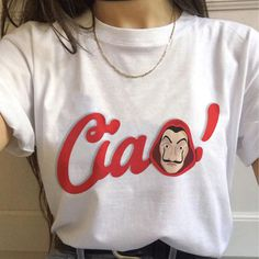 Women's T Shirts which presents many different La Casa De Papel figures, has a very cute style. Women's T Shirts products that, you will use in a great entertainment have a strong material structure. Shirt Print Design, Shirt Designs, Iranian Women Fashion, Shirt Embroidery, Cheap T Shirts, T Shirts For Women, Clothes For Women, Summer Shirts, Printed Shirts