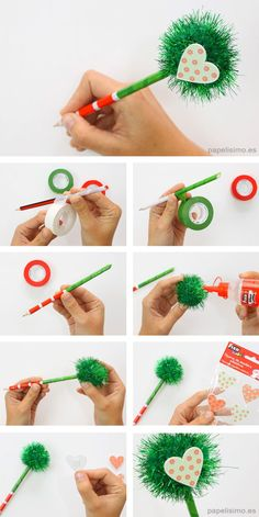 Lapices-decorados-pompones-diy-decorated-pencils-washi-tape Kids Crafts, Duck Crafts, Crafts For Seniors, Diy Arts And Crafts, Craft Stick Crafts, Preschool Crafts, Tape Crafts, Candy Christmas Decorations, Christmas Crafts