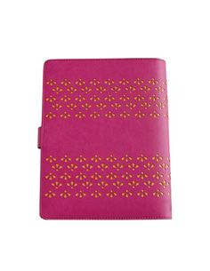 """This unique plannerhas an intricate die cut design on a two-tone color scheme. You will want this planner to add to your collection. Color: Hot Pink & Yellow (Planner Binder Only)  Planner: 9.25"""" L x 7.25"""" W x 1.375"""" H (Max height of paper inserted-approx 100 sheets) / 234mm L x 184mm W x 34mm H  Ring Diameter: 1.125"""" / 28mm Ring Spacing: 0.625"""" between each / 2.625"""" middle gap   16mm /66mm Material: Soft and Durable PU Leather Hardware: Silver 6 Ring and Logo Strawberry SnapClosu..."""