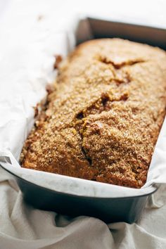 Super Moist Pumpkin Bread - an easy, classic recipe for this all-time favorite snack or breakfast treat! Made with olive oil, pumpkin, and cinnamon, and topped with crunchy raw turbinado sugar. | pinchofyum.com