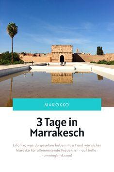 Als Frau alleine nach Marrakesch reisen? Ist es sicher, und was muss ich dabei beachten? Hier erfährst du mehr darüber, wie du das Beste aus deinem Trip nach Marokko machst und wie du deine Tage am besten planst. Riad, Outdoor Decor, Marrakech, Mosque, Alone, Old Town, Adventure