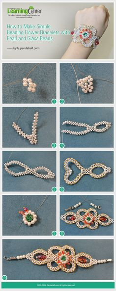 How to Make Delicate Beading Flower Bracelets with Pearl and Glass Beads from LC.Pandahall.com