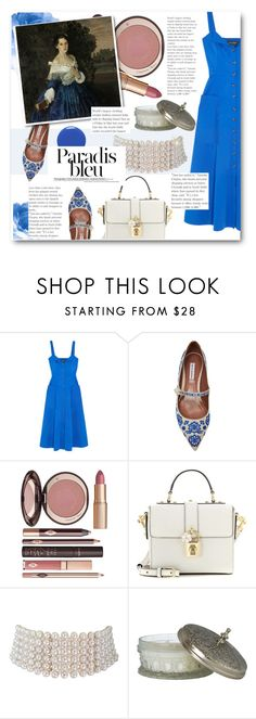 """""""The Lady In Blue"""" by fashionistalooks ❤ liked on Polyvore featuring Saloni, Tabitha Simmons, Charlotte Tilbury, Dolce&Gabbana, Marina J. and vintage"""