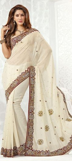 136918: White and Off White color family Saree with matching unstitched blouse.