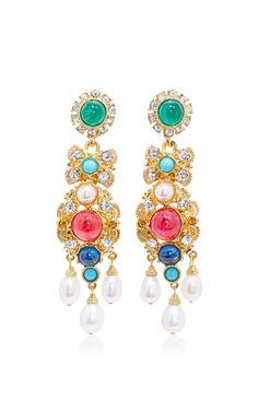 Byzantine Pearl Multi-Stone Earrings by BEN AMUN Now Available on Moda Operandi