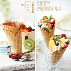 For a playful take on a dessert parfait, pair yogurt with Smucker's Natural Red Raspberry Fruit Spread, and then layer with fresh fruit in a waffle cone. It's the perfect summer treat.