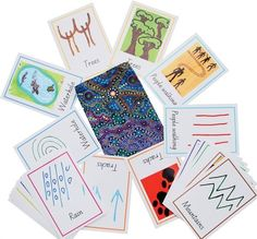 Supplied in a handmade Aboriginal fabric bag. Wonderfully illustrated set of matching cards where the children are asked to test their imagination to match the Aboriginal art symbol with the object. Suitable for children ages 5 and up. Aboriginal Art Symbols, Tree People, Educational News, Matching Cards, Traditional Design, Art Forms, Children, Illustration, Fabric