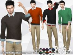 The Sims Resource: Linen-Blend Sweater with Shirt by DarkNighTt • Sims 4 Downloads