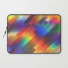 Decorative abstract colorful geometric squares background patterned laptop sleeve.  #laptopsleeve #colorful #geometric #abstract #modern #pattern