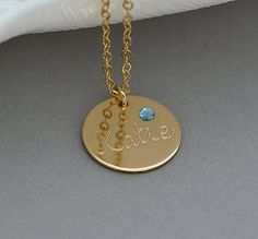 Birthstone Disc Necklace Personalized Birthstone Necklace