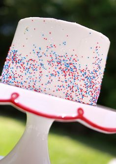 Red, White, and Blue sprinkled cake