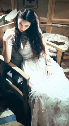 Bohemian short sleeved crew neck white handmade embroidered lace maxi dress