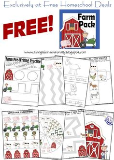 FREE PreK Farm Pack | 123 Homeschool 4 Me