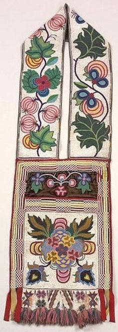 bandolier bags for auction   An Ojibwa beaded cloth bandolier bag with floral designs; image credit ...