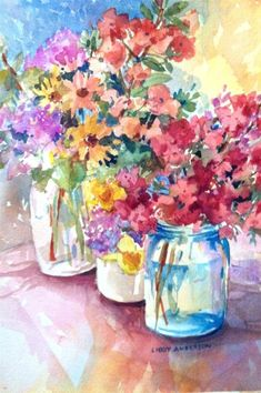 "Colorful Bouquets of Flowers in Mason Jars - ""Spring"" - Original Fine Art for Sale - © Libby Anderson Art Floral, Watercolor Flowers, Watercolor Paintings, Watercolours, Paintings I Love, Fine Art Gallery, Illustrations, Flower Art, Abstract"