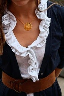 White Ruffled Blouse #DIY | Navy Blazer | Thick Brown Belt | Monogrammed Gold Signet Necklace