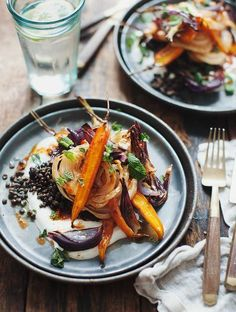 Roasted Carrot and Fennel with Harissa, Black Lentils and Yogurt // My New Roots. - Roasted Carrot and Fennel with Harissa, Black Lentils and Yogurt // My New Roots / Wholesome Foodie - Whole Food Recipes, Vegan Recipes, Cooking Recipes, Fennel Recipes, Vegetarian Recipes Gourmet, Healthy Gourmet, Gourmet Foods, Game Recipes, Jelly Recipes