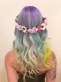 @hairbymisskellyo on Instagram, pastelhair, ombre, balayage , sand art hair , flowercrown, boho, hippy, weddinghair, bridesmaid hair, updo , fishtail braid, rainbow hair, haircolour, 2015 trends, pink hair, purplehair, blue hair, mermaid hair, neon pastels, hair art, behind the chair, modernsalon, unicorn hair, my little pony, festival hair #sandarthair #mermaidhair #rainbowhair #pastelhair #pravana #behindthechair