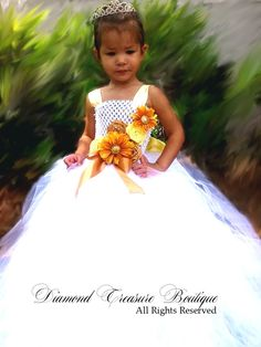 Beautiful White flower girl dress with pretty autumn yellow and gold accents available now at www.diamondtreasureboutique.com White Flower Girl Dresses, White Flowers, My Beautiful Daughter, Gold Accents, Modeling, Autumn, Boutique, Yellow, Wedding Dresses