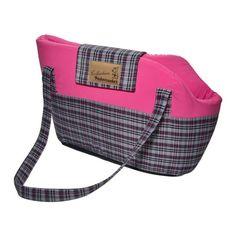 Bolsa Transporte Rosa Xadrez Roxo E Preto - Pickorruchos - A Bolsa Transporte da Pickorrucho's é um modelo diferenciado e extremamente confortável para seu pet.  MeuAmigoPet.com.br #petshop #cachorro #cão #meuamigopet
