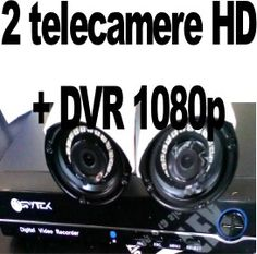 Videosorveglianza AHD 2 telecamere con DVR Kit videosorveglianza per esterni in giardini ottimo in notturna e diurna video in tempo reale anche da cellulari