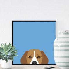 Chien beagle sur fond bleu - 23x23cm