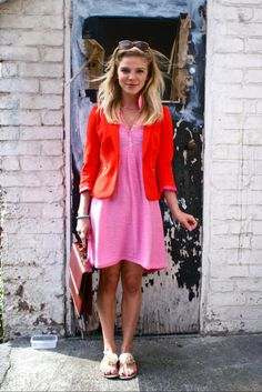 A bright and happy pink & red combination. #pink #red #fashion